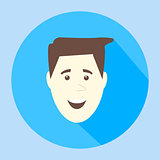 Color vector smile flat icon man face emotion