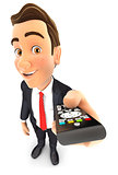 3d businessman holding television remote control