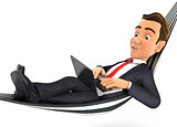 3d businessman lying in hammock and working on laptop