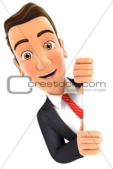 3d businessman peeping over blank wall