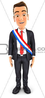 3d businessman wearing french mayoral sash