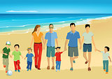 Parents with children on the beach