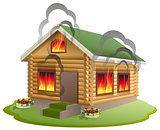 Wooden house fire. Wooden home burning. Insurance of property
