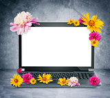 Laptop with flowers