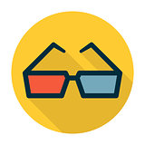 Cinema glasses flat icon