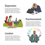 Concept psychotherapy of three illustrations