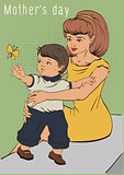 Mothers day. Young mother and little son. Retro cartoon illustration greeting card