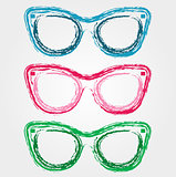Colorful sunglasses sketched with crayon
