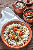 Thai green chicken curry with mix of white and wild rice