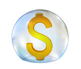 Dollar sign in soap bubble