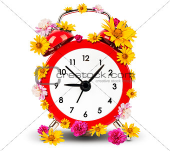 Alarm clock with flowers