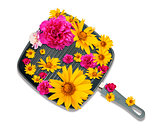 Frying pan with flowers