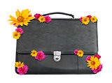 Black suitcase with flowers