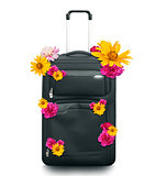 Luggage with flowers