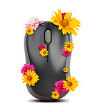Computer mouse with flowers