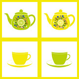Teapot with cup, herbal tea. Seamless pattern.