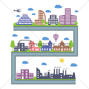 City Skylines. Landscape constructor icons set. Vector elements of town isolated on white.