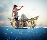 Sailor on banknote boat