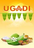 Happy Ugadi. Template greeting card for holiday Ugadi
