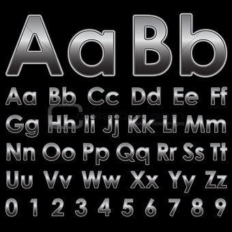 Alphabet letters on a black background