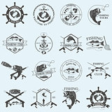 Set of vintage fishing labels, badges and design elements.
