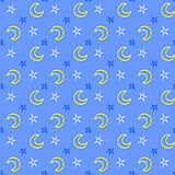 Seamless soft stars and moon baby night background