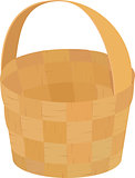 wooden wicker brown  empty basket for picnic isolated on white