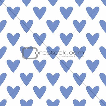 Tile vector pattern with blue hearts on white background