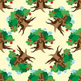 Dark Enchanted Vintage Trees seamless pattern vector. Magic forest background.