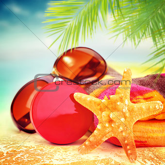 Beautiful still life of beach items