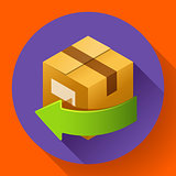 Delivery and free return of gifts or parcels. Shipping icon for internet store