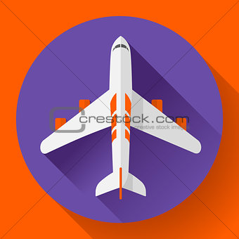 Airplane delivery vector icon. Flat design style