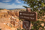 Navajo loop sign in Bryce Canyon National Park