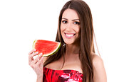 brunette holding a watermelon