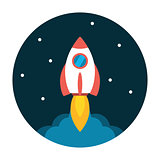 Rocket launch flat icon