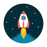 Rocket launch flat icon
