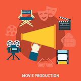 Movie production. Flat design.