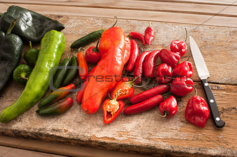 Assortment of colorful fresh peppers