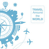 Famouse places. Travel arround the world vector illustration. Travelling by plane, airplane trip in various country.