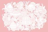 Vector Pastel Floral tea time