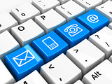 Computer keyboard blue contact
