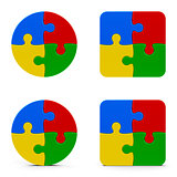 Abstract puzzle icons