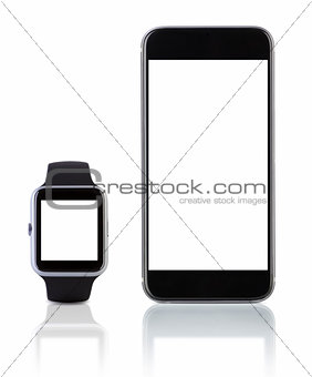 Smart watch sport with SmatPhone on white