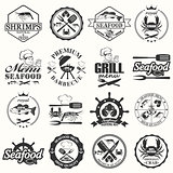 set of seafood labels and signs