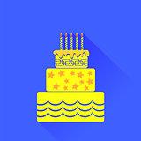 Vector Yellow Birthday Cake Icon