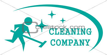 blue cleaning symbol