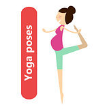 illustration of simple yoga poses for pregnant woman for sport activity and relax