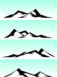 mountain ridge stylized illustration in black and white