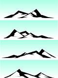 mountain ridge stylized illustration in black and white
