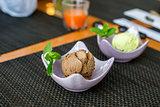 Pistachio and chocolate ice cream in  restaurant